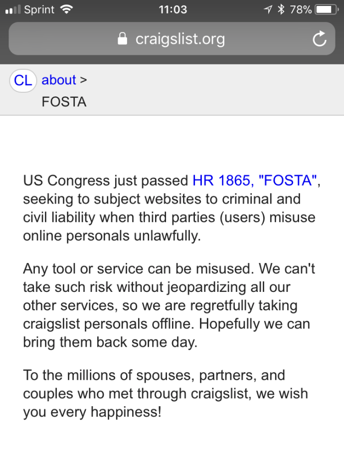 Craigslist Shutters Personals Section